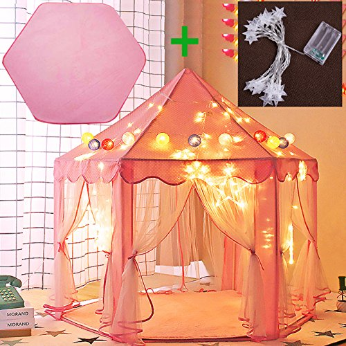 Reliancer Large Indoor Kids Hexagon Princess Castle Play House Tent Pink Outdoor Child Playhouse W Hexagonal Coral Rug And Lights 55 X 53  Dxh