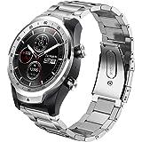 コンパチブル Ticwatch Pro/fossil Q EXPLORISTバンド,ステンレス 鋼 コンパチブル Galaxy Watch 46mm バンド ステンレス留め金製 Galaxy Gear S3 classic/Frontier コンパチブル Huawei Watch GT バンド(22mm 銀)