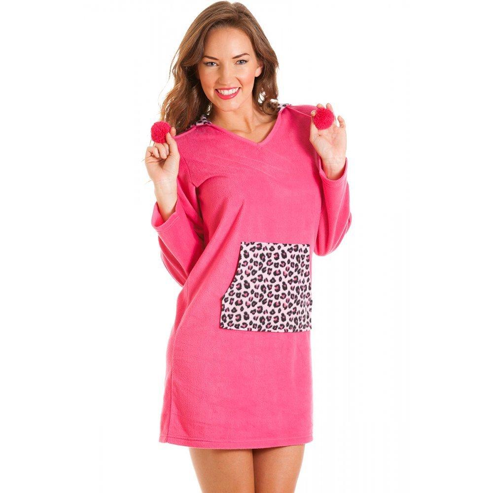 Camille - Camicia da notte motivo leopardo e cappuccio in pile - taglie 40-50 - rosa