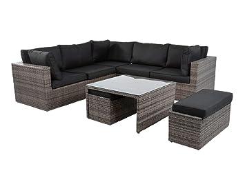 GroBartig Gut Lifestyle4living Lounge Gartenmöbel Set Aus Polyrattan In Grau. Bank  Und Hocker Inkl. Sitzauflagen
