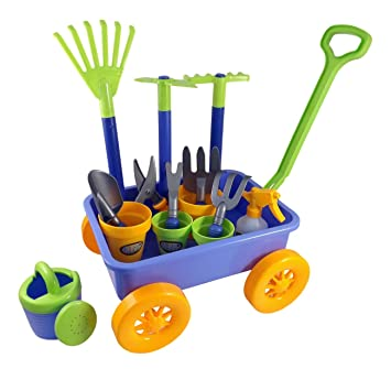 Garden Wagon U0026 Tools Toy Set For Kids With 8 Gardening Tools, 4 Pots,