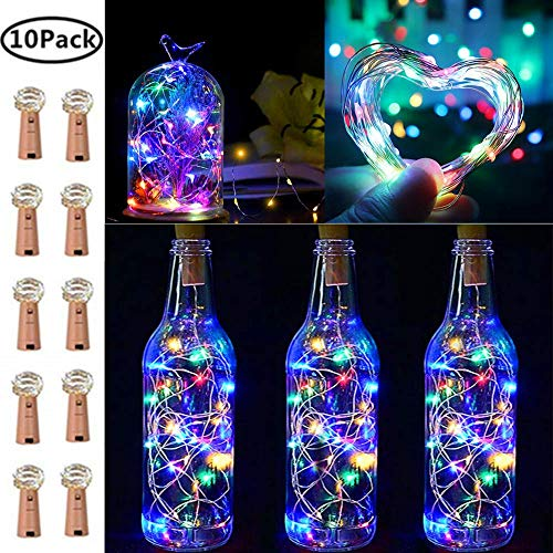 10 Pack 20 LED Wine Bottle Cork Lights Copper Wire String Lights, 2M/7.2FT Battery Operated Wine Bottle Fairy Lights Bottle DIY, Christmas, Wedding Party Décor (Multicolor)