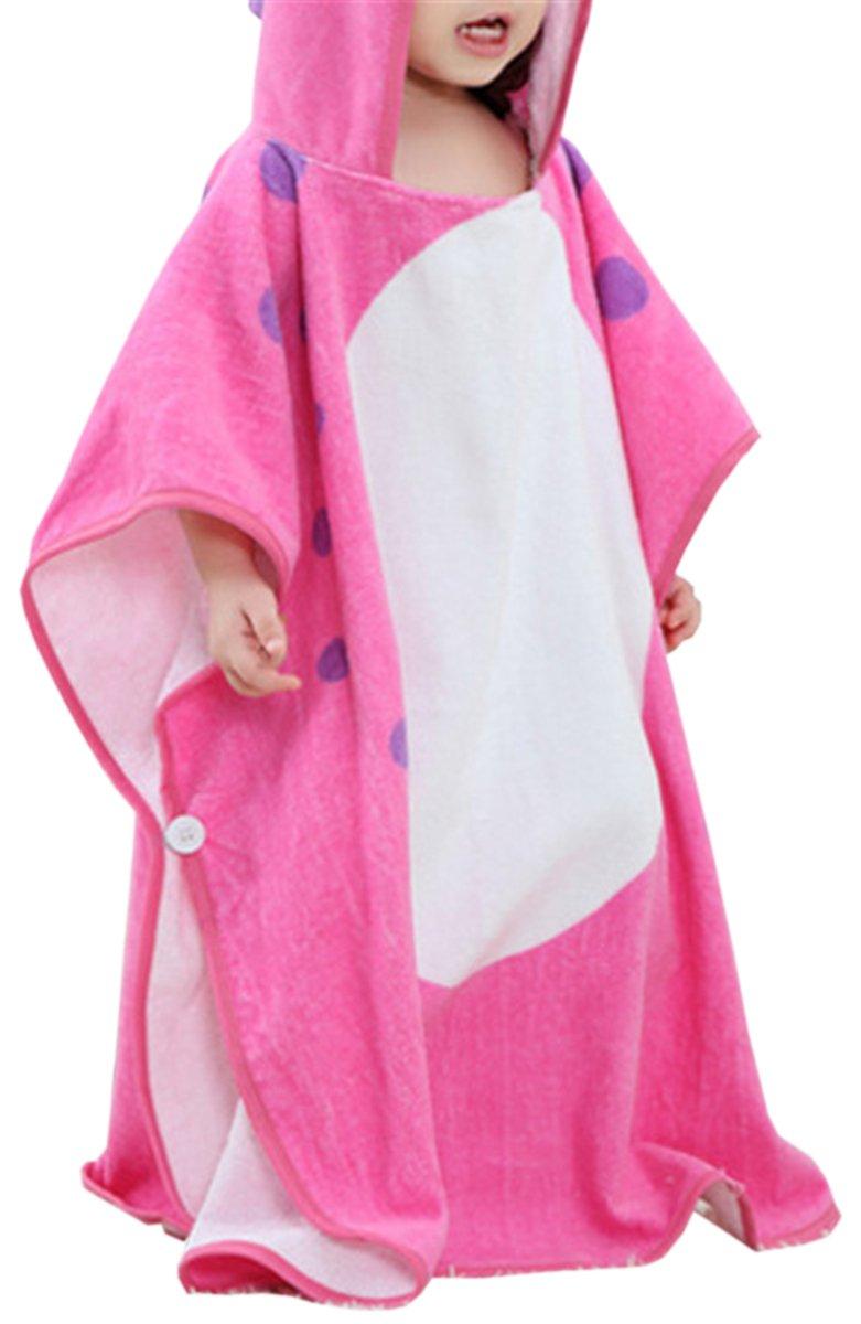 Betusline Kids Animal Hooded Bath Towel, Fuschia Dino, One Size