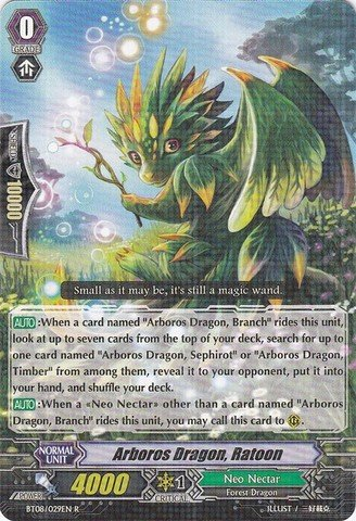 Cardfight!! Vanguard TCG - Arboros Dragon, Ratoon (BT08/029EN) - Blue Storm - Nectar Deals Card