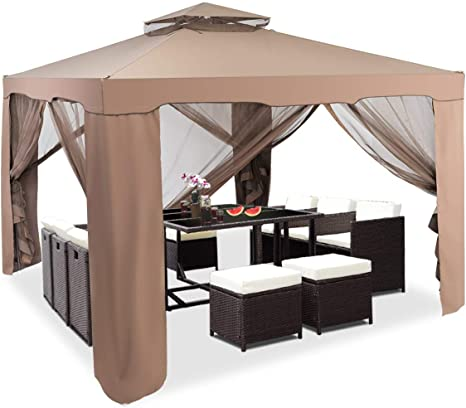 COSTWAY Carpa Mosquitera Plegable 300 x 300 x 200-265cm Pabellón de Jardín Gazebo Cenador para Fiesta Boda Camping (Marrón)
