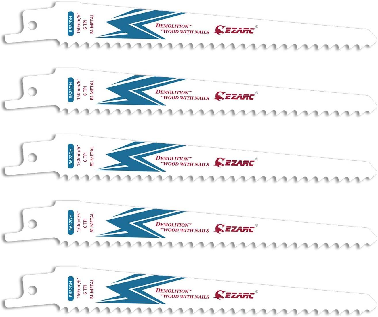 EZARC Hojas de sierra sable Bimetálica Cobalt R622DH 150mm 6TPI puede Madera Clavada - 5 piezas