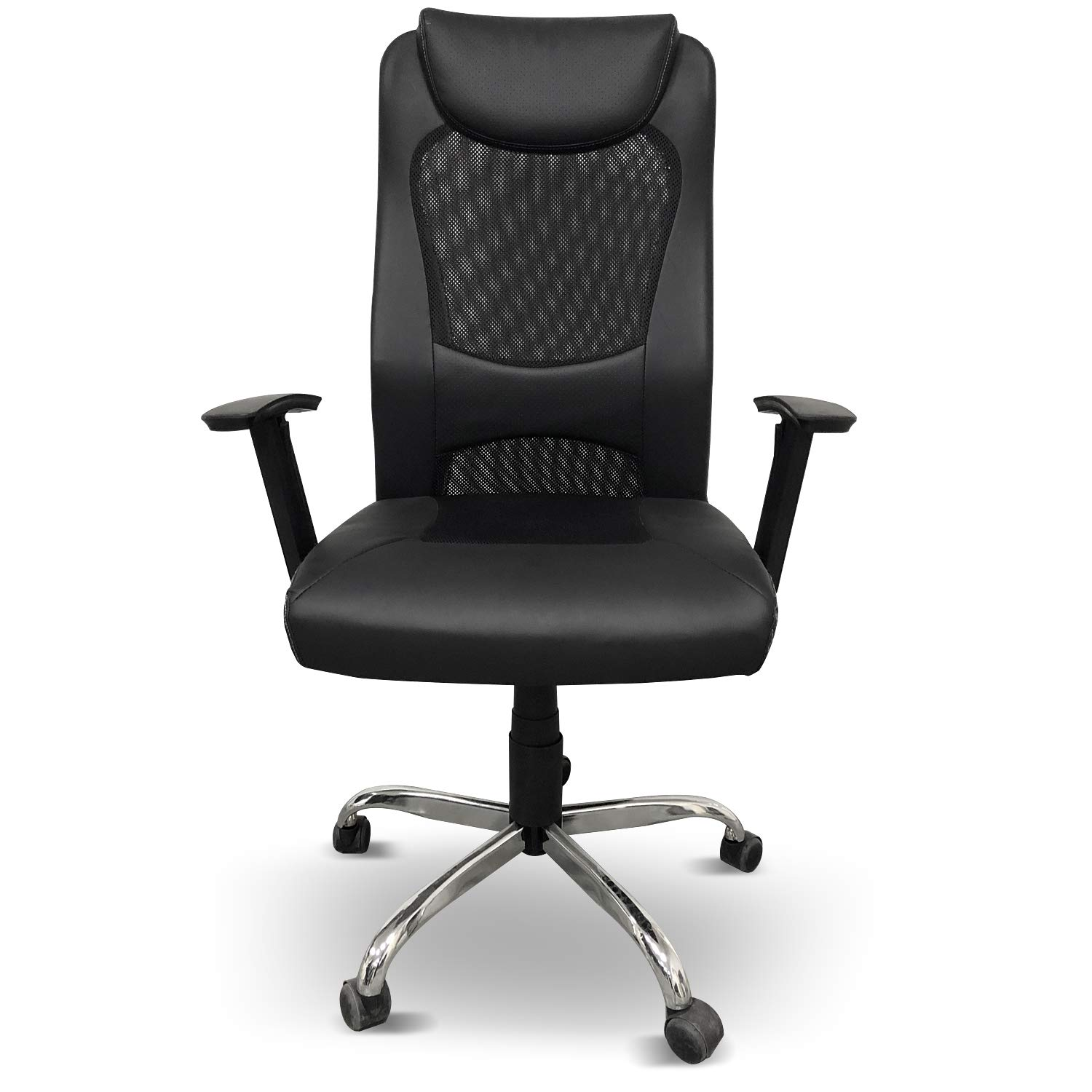 Heonsit High Back Mesh Office Chair - Ergonomic Computer Desk Task Executive Chair with Padded Leather Headrest and Seat, Adjustable Armrests, Black