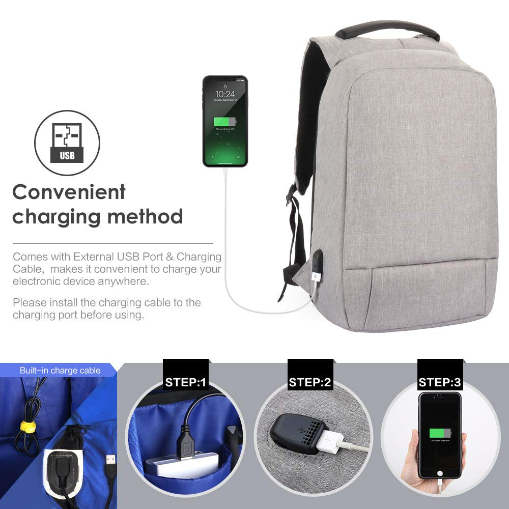 Laptop Backpack, Slim Business Computer Backpack with USB Charging Cable and Port, Water Resistant Anti-Theft Travel School Bags Fits Under 17 Inch Laptop by SEEHONOR (Image #2)