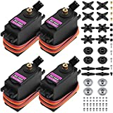MG996R Metal Gear Torque Digital Servo with Arm Horn, SENHAI 4 Pack Robot Servo for FUTABA Hitec Sanwa GWS JR RC Helicopter Car Boat Robot