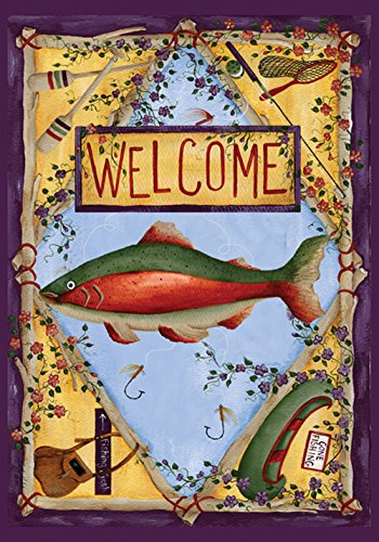 Toland Home Garden Rainbow Trout 12.5 x 18 Inch Decorative Outdoors Sport Fishing Canoe Welcome Garden Flag