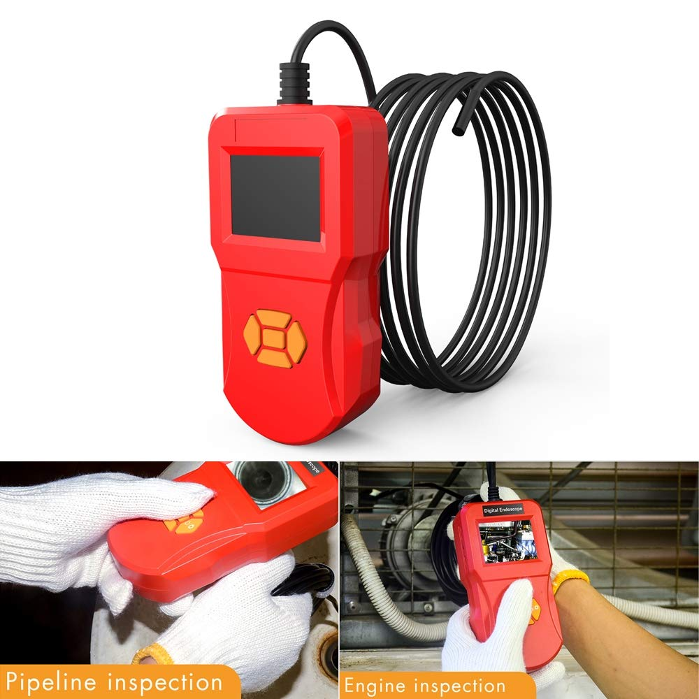QGT inskam127 IP67 HD Digital 2.4 inch Display Screen Handheld Endoscope Industrial Home Endoscopes, Lens Size: 5.5mm, Hard Cable Length: 5m (Black) (Color : Red)