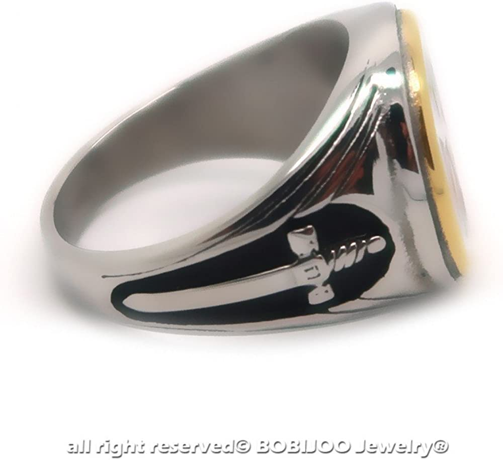 Rotes Kreuz Schwert Stahl Vergoldet Versilbert Ring Siegelring Templer Mann Vintage BOBIJOO JEWELRY