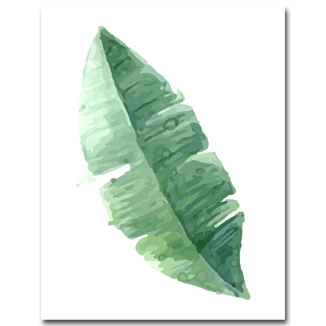 ZSHSCL Watercolor Tropical Plant Leaves Art Canvas Poster