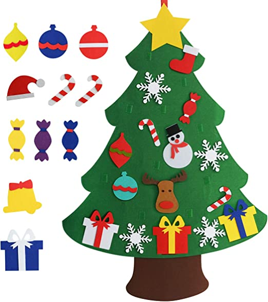 Amazon Com Chasgo Felt Christmas Tree For Kids With 27 Packs Funny Christmas Ornaments Funny Gifts For Kids Hanging Christmas Tree Decor For Kids Room Class Room Shop New Year Xmas Gift For