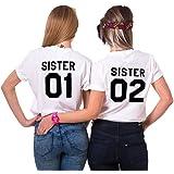Best Freund Best Friends Shirts für Zwei Mädchen Tshirt mit Aufdruck Sister Damen Tops Frau Oberteil Sommer Kurzarm 2 Stücke