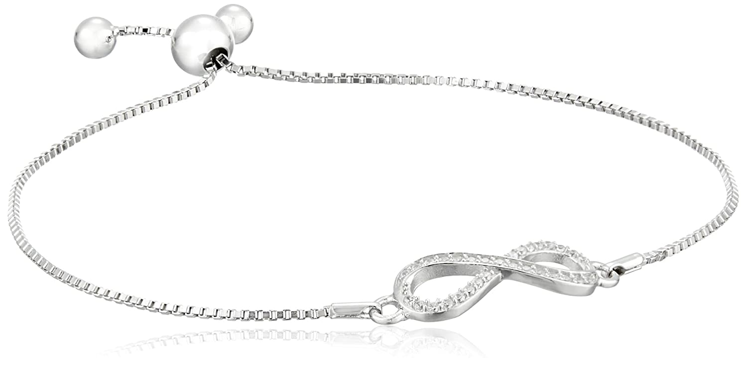 Sterling Silver Cubic Zirconia Infinity Adjustable Slider Bracelet Amazon Collection BR4608CZA