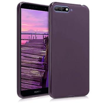 kwmobile Funda para Huawei Y6 (2018) - Carcasa para móvil en [TPU Silicona] - Protector [Trasero] en [Morado Mate]