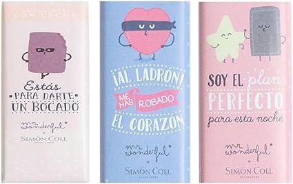 Pack de Tres Chocolatinas Mr. Wonderful Amor: Amazon.es: Oficina y papelería