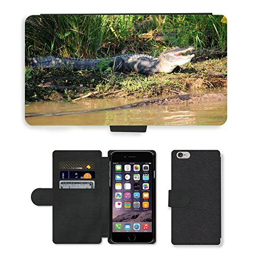 Just Phone Cases PU Leather Flip Custodia Protettiva Case Cover per // M00128912 Alligator Bayou marais animale // Apple iPhone 6 PLUS 5.5""