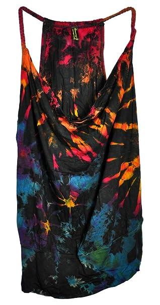 4418fc1afa68 Amazing Grace Women s Ethnic Stretchy Summer Sexy Tie Dye Braid Straps Tank  Top (Black Rainbow