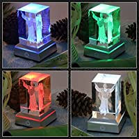 LED Light Base Show Stand Display Plate with Sensitive Touch Switch for 3D Laser Crystal Glass Art by Erwei Guoji