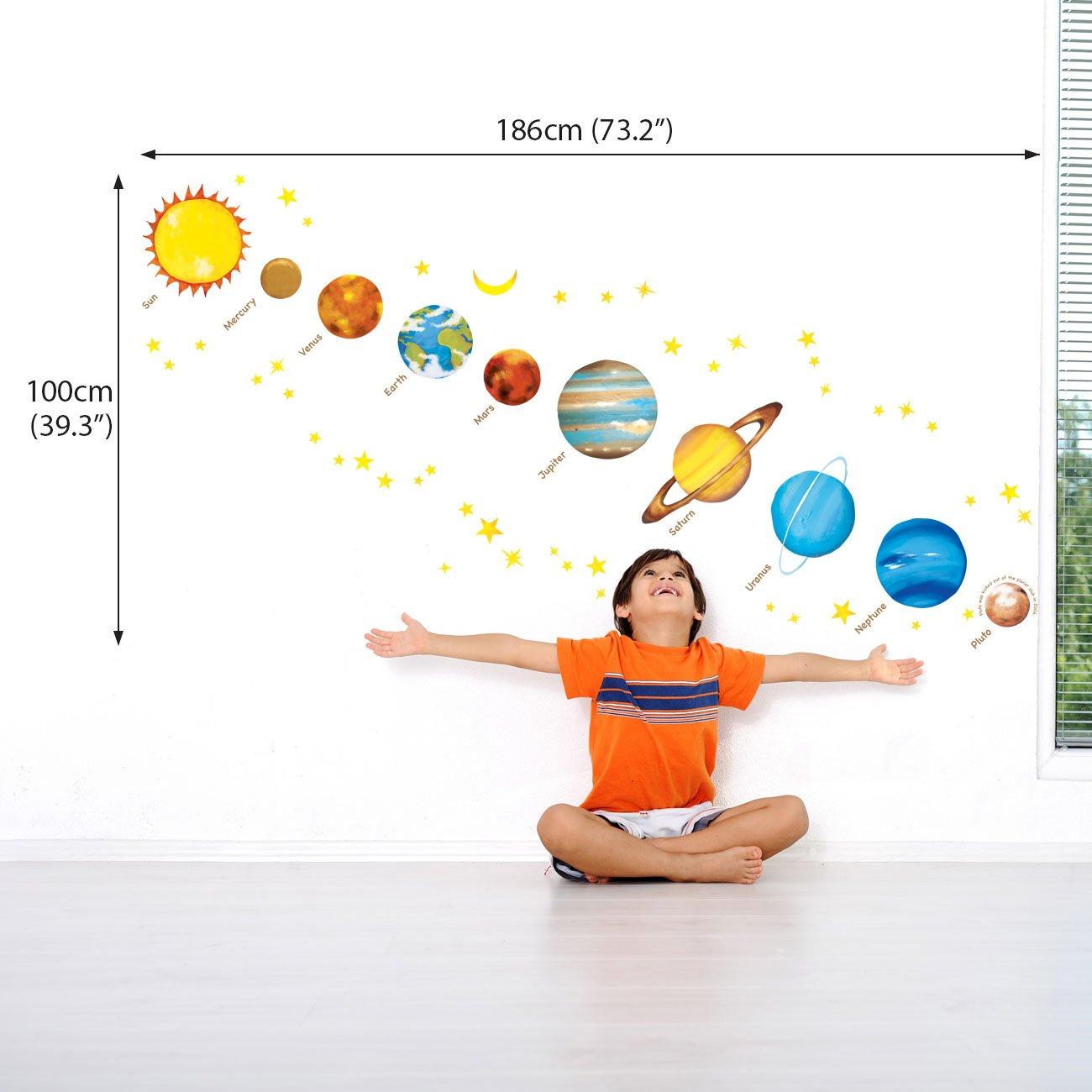 Decowall DW-1307 Des Plan/ètes dans lespace Autocollants Muraux Mural Stickers Chambre Enfants B/éb/é Garderie Salon Ver anglais Moyen