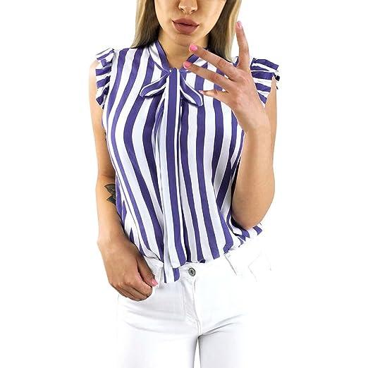 00e82985a4a BingYELH Women's Working Blouse Stylish Black White Striped Tie Bowknot Tops  Shirt Pullover Tee (S