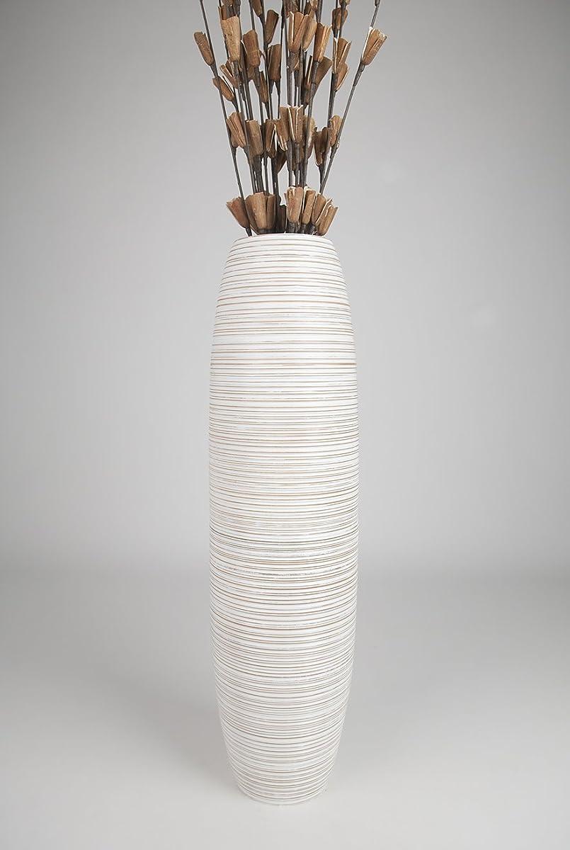 Leewadee Tall Floor Vase 36 inches, Wood, White