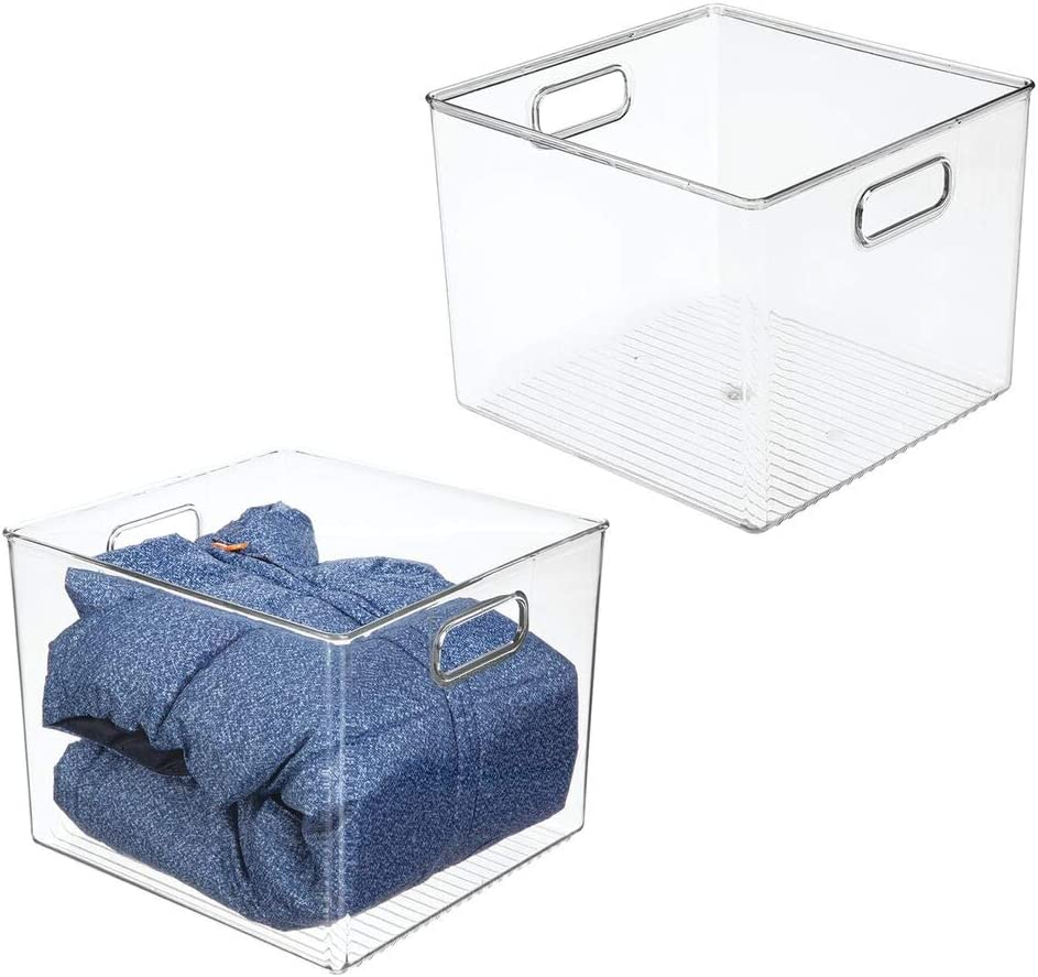 "mDesign Deep Plastic Storage Bin Box - Closet Organizer for Kids Bedroom, Bathroom, Kitchen Pantry, Home Office, Entryway, Hallway - Perfect for Shelves, Cabinets, Under Sink, 8"" High, 2 Pack - Clear"