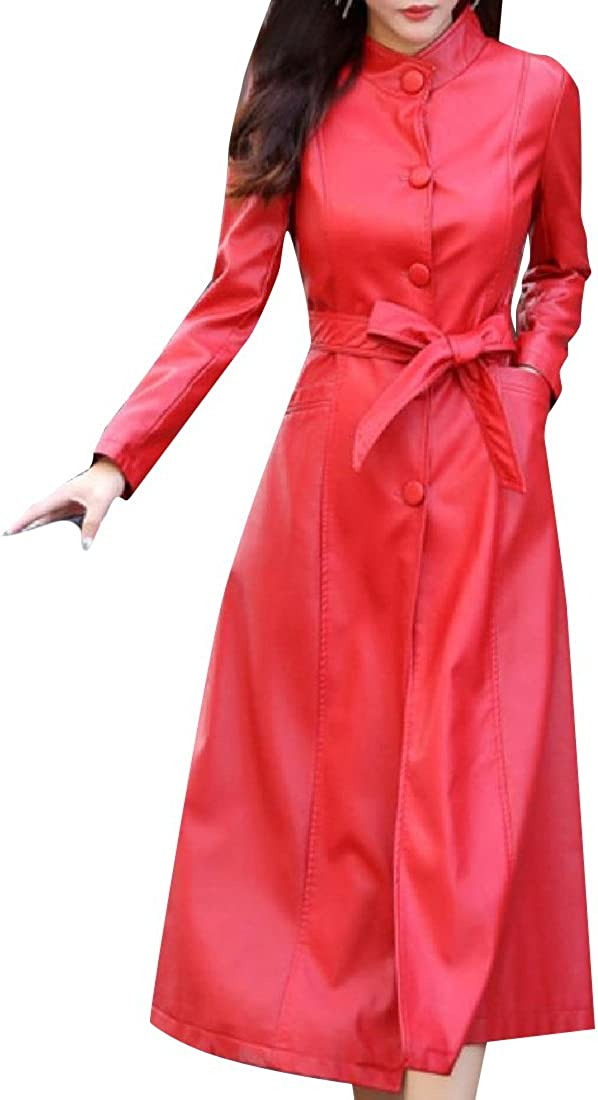 Zimaes-Women Belted Genuine Leather Slim Casual Longline Trench Coat