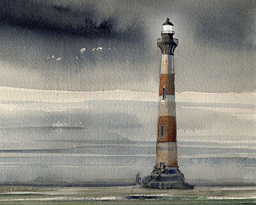 Morris Island Lighthouse, Charleston Lighthouse, South Carolina. Matted Watercolor Art Prints by James Mann (8x10)