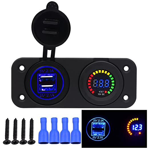 18 opinioni per TurnRaise Impermeabile USB Dual 4.1A Caricabatteria e Voltmetro Pannello LED