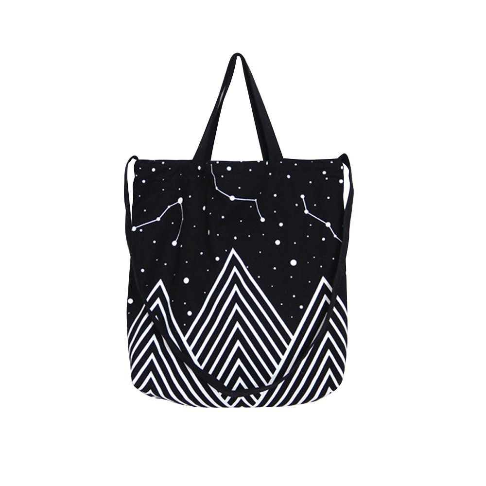 Caixia Mountain Star Print Canvas Tote Convertible Shoulder Bag Black 10438088