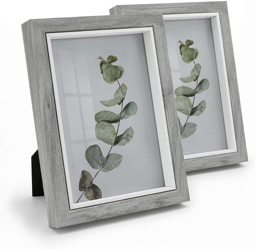 Afuly Grey Picture Frame 5x7 Rustic Wood Grain Photo Frames Farmhouse Decor Wall Hanging Special Gifts, Pack of 2