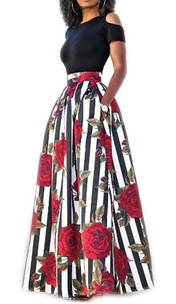 Women Palazzo Floral A Line Long Skirt Plus Size Two Pieces Outfit Dress Set 4X