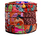 Indian Pouf Stool Vintage Patchwork Embellished with Patchwork Living Room Ottoman Cover,100% Cotton Art Decor Ottomans Comfortable PatchWork Floor Cushion By Handicraft-Palace