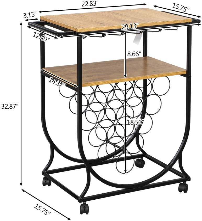 Goujxcy Industrial Bar Cart with Wine Rack and Glass Holder Living Room Wine Rack Cart on Wheels Mobile Wine Rack Metal Serving Cart with Wooden Desktop Ideal for Kitchen Hotel Bar
