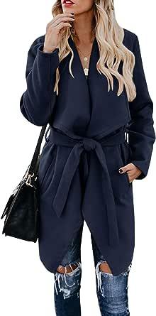 Umeko Womens Lapel Open Front Wrap Coat Casual Long Sleeve Winter Fall Warm Wool Blend Overcoat Outwear