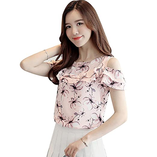 216c0fd872f6b XWDA Chiffon Women Off Shoulder Short Sleeve Blouses Print Floral Casual  Shirts at Amazon Women s Clothing store