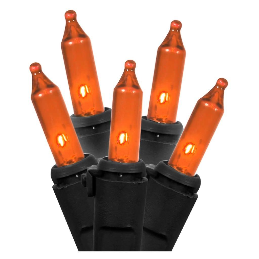 Vickerman 516928-35 Light 26.25' Black Wire Orange LED Miniature Christmas Light String Set with 9'' Spacing (X9BK318LED)