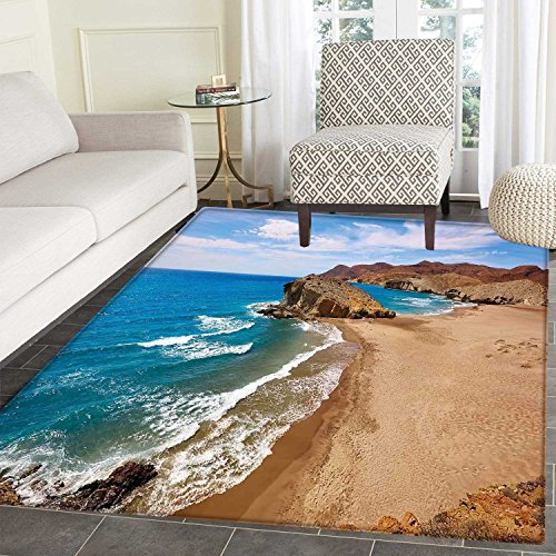 Landscape Area Silky Smooth Rugs Ocean View Tranquil Beach Cabo De Gata Spain Coastal Photo Scenic Summer Scenery Home Decor Area Rug 4'x5' Blue Brown by Carl Morris