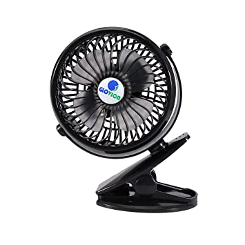 USB Clip on Mini Desk Fan 2 Speed Mode for Baby Stroller Car Laptop Table Workout Camping Outdoors Home Office-Black Quiet Operation,360/¡/«up and down