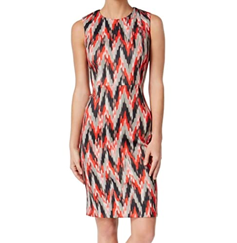 Calvin Klein Womens Printed Scuba Wear to Work Dress