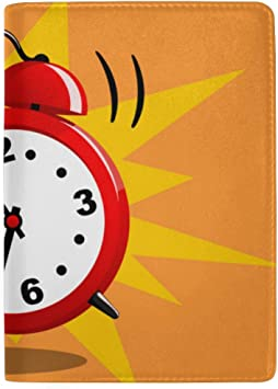 Old Retro Alarm Clock Blocking Print Passport Holder Cover Case Travel Luggage Passport Wallet Card Holder Made With Leather For Men Women Kids Family