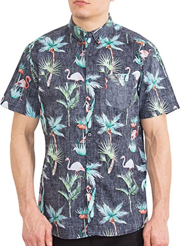 Mens Hawaiian Button Down Shirts Short Sleeve Flamingo Aloha Palms Casual Shirt S