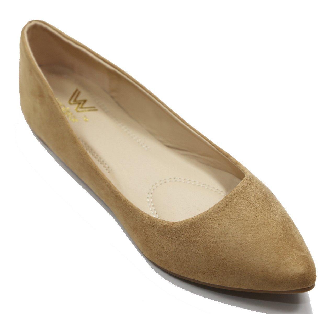 Walstar Women's Basic Point Toe Ballet Flats B00U6MAKIO 7.5 B(M) US|Su7-beige