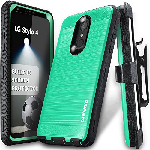 LG Stylo 4 / Stylo 4 Plus / 4 + Case, COVRWARE [Iron Tank] Built-in [Screen Protector] Heavy Duty Full-Body Rugged Holster Armor [Brushed Metal Texture] Case [Belt Clip][Kickstand], Teal