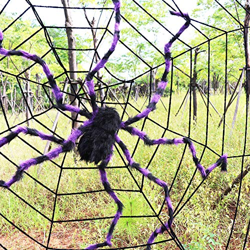 Purple Halloween Spider - Halloween Scary Giant Spider 78 inches, 200 cm Plush Fear Spider Toy for Kids Halloween Party Decoration Garden Supply or Haunted House Decorations Black/Purple