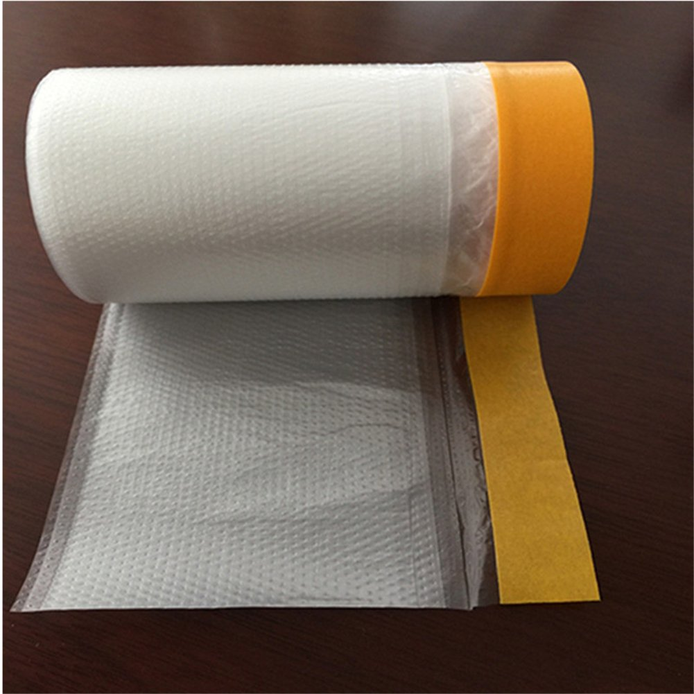 Painting Protection Cover, 20M Pre Taped Masking Film Tape Roll Self Adhesive Floor Carpet Protection Film Sheet(20m× 110cm) 20M Pre Taped Masking Film Tape Roll Self Adhesive Floor Carpet Protection Film Sheet(20m×110cm) Yunhigh