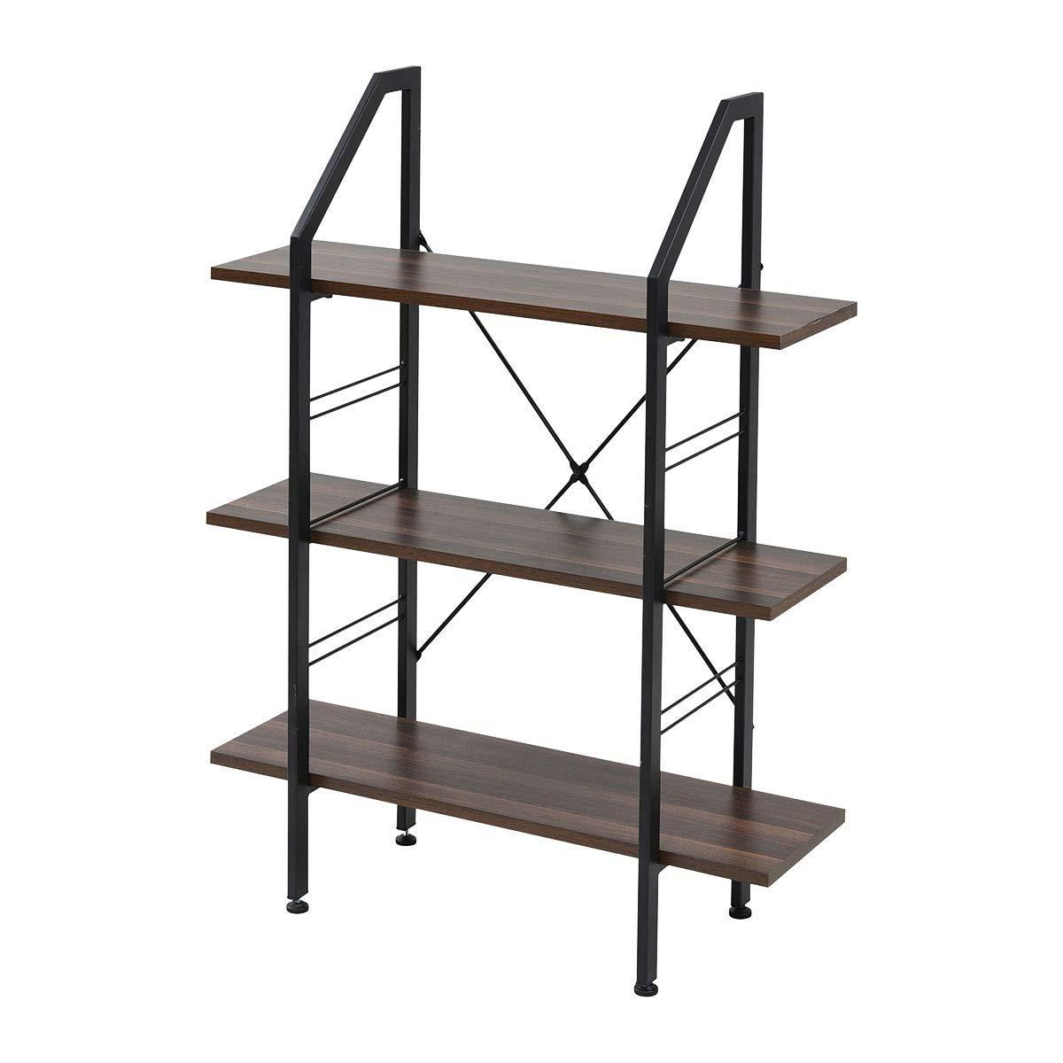 ぼん家具 シェルフ ディスプレイラック ラック 棚 北欧風シェルフ おしゃれ 木製 ブラック×ブラウン B07SYHGV3M ブラック×ブラウン